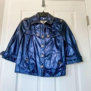 Burberry Metallic Leather Jacket - Size 4